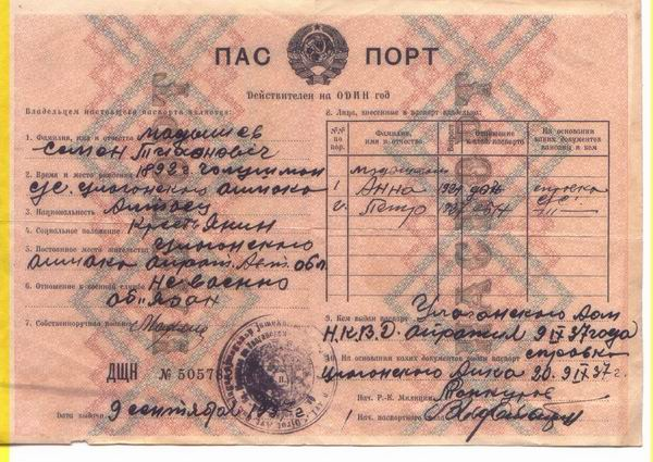 паспорт 1937 г